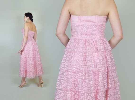 1950's Pink Lace Party Dress | 1950s Pink Lace Pr… - image 7