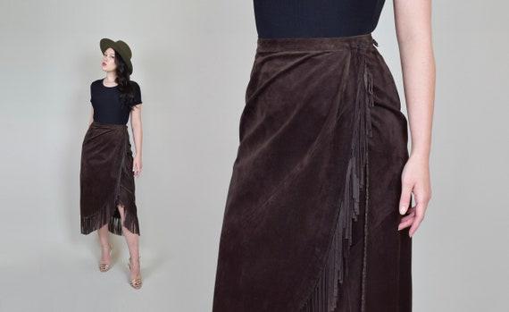 Leather Fringe Wrap Skirt   Western Suede Wrap Sk… - image 3