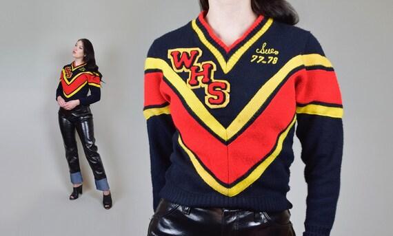 Vintage Letterman Sweater   1970s High School Vars