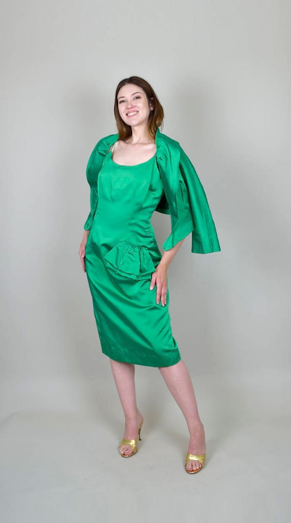 with Green 1960's Satin Medium Matching Cocktail Purse Bolero Set Green Glowing Dress Large Satin Emerald WEErRUafq8