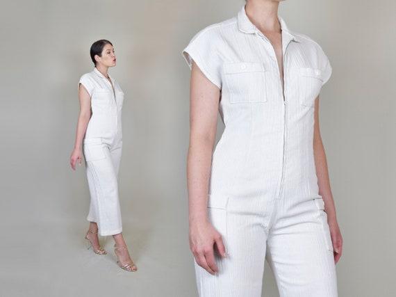 1970's White Gauze Linen Jumpsuit | 1970s Zip Up … - image 8