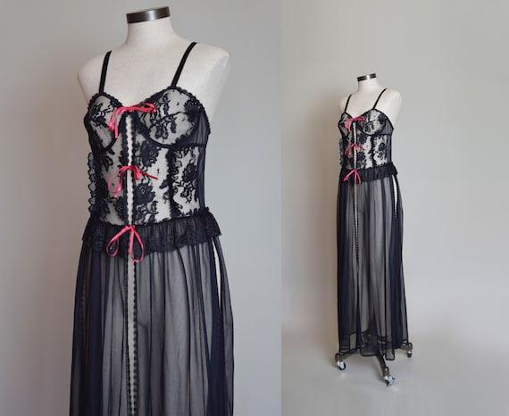 Vintage Black Lace Corset Negligee Robe   1980s L… - image 1