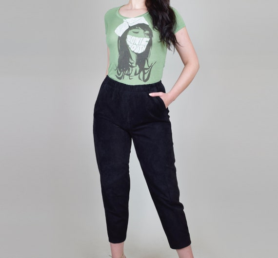 Suede Leather Pants | Vintage Elastic Waist Leath… - image 4