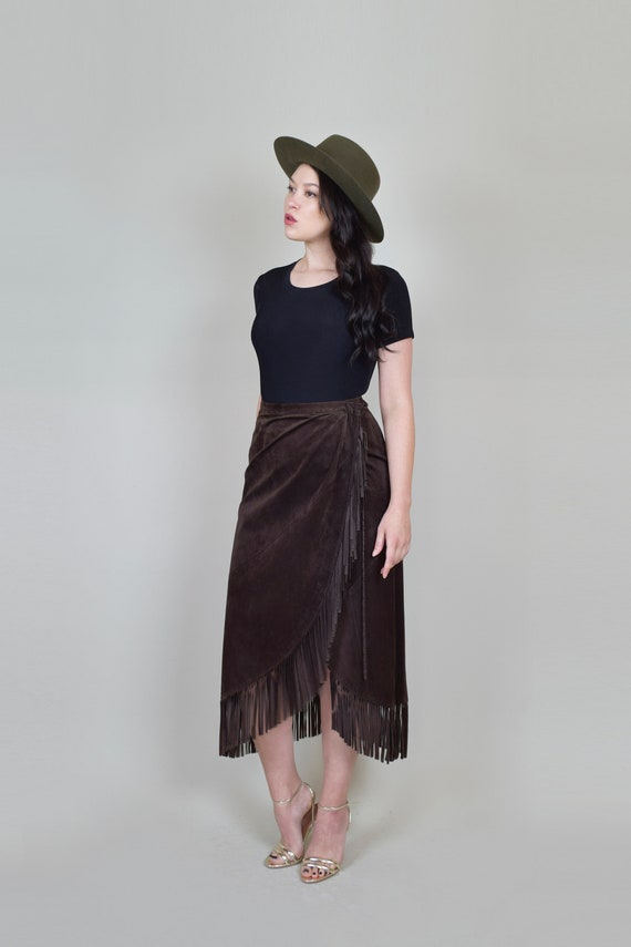 Leather Fringe Wrap Skirt   Western Suede Wrap Sk… - image 4