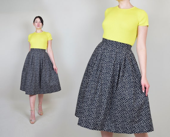 1950's Polka Dot Circle Skirt | 1950s Printed Circ