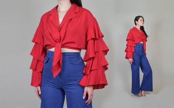 1970's Ruffle Sleeve Shirt | Vintage Ruffle Sleev… - image 5