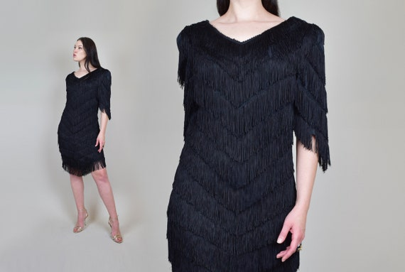 1980's Tiered Fringe Dress | Vintage Tiered Fringe Dress