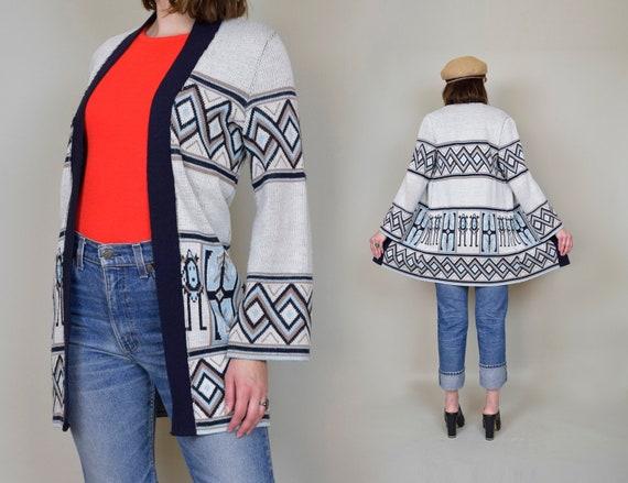 1970s Southwestern Print Sweater | 70s Knit Wrap S