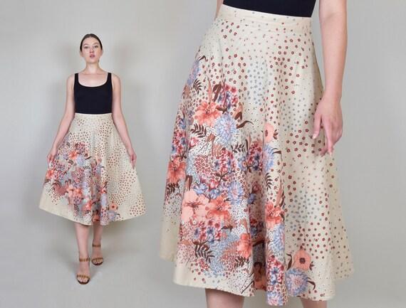 1970's Floral Skirt | 1970s Natural Floral Skirt