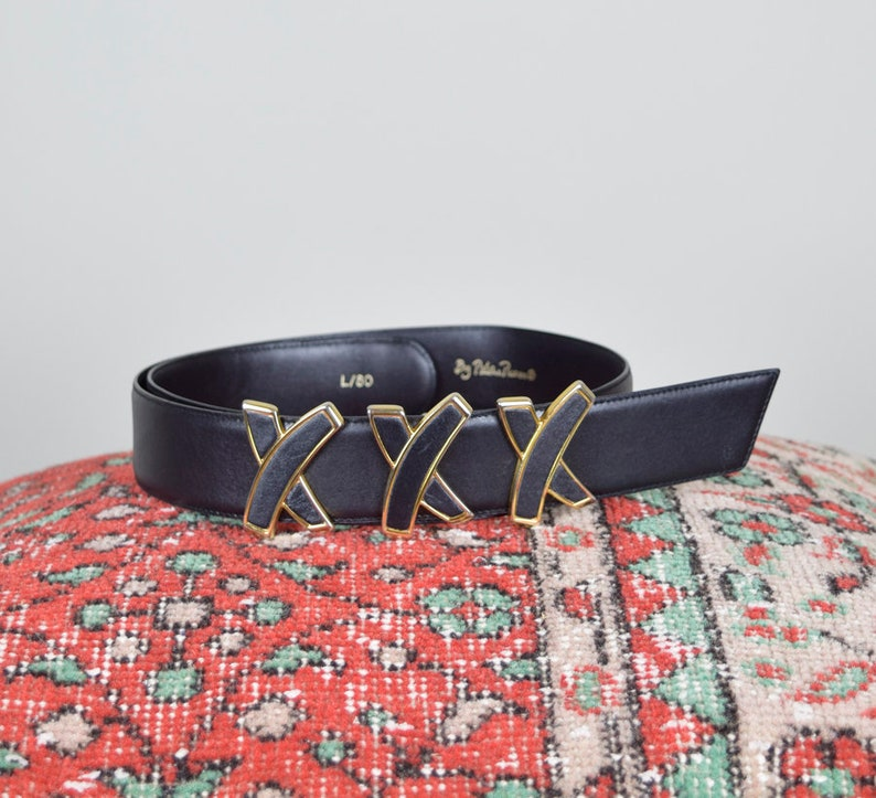 9fc35d1b86c4f 1980 s Paloma Picasso XXX Belt Buckle Leather and Gold