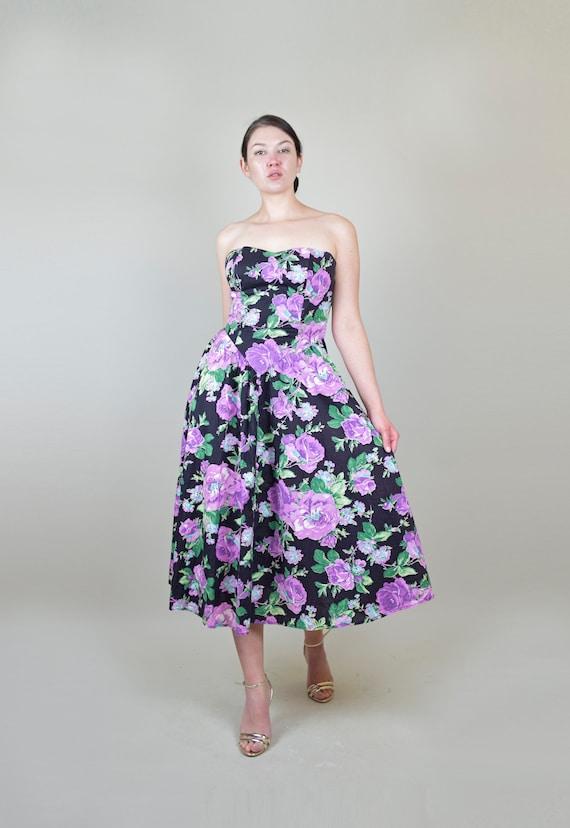 80's Rose Print Dress | 1980s Strapless Floral Dr… - image 2