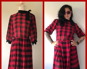 80s Vintage Tea Dress, 80s Red and Black Dress, 80s Vintage Dress, Tea Dress, 80s Cotton Dress, Red and Black Plaid Dress,