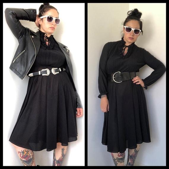 70s Vintage Dress, Black Dress Edwardian Style, 70