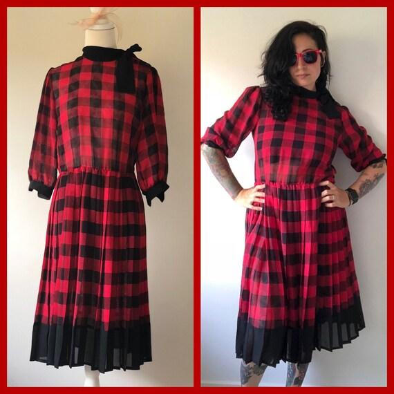 80s Vintage Tea Dress, 80s Red and Black Dress, 80