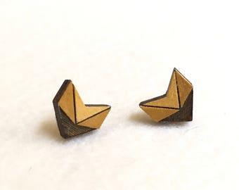 Boucles d'oreilles clous géométriques, jaune