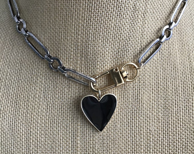 Heart Necklace PAPERCLIP CHAIN NECKLACE Chunky Chain Necklace Mixed Link Chain