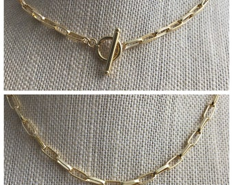GOLDFILLED PAPERCLIP NECKLACE,  Paperclip Chain Necklace, Goldfilled Choker, Goldfilled Paperclip Chain