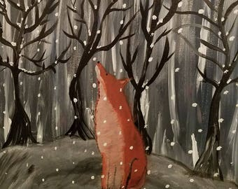 Thoughtful Fox Giclee Print - Red Fox in forest- Spirit - Totem - Animal -