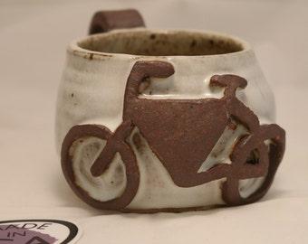 Bicycle Mug | handmade coffee mug with bike