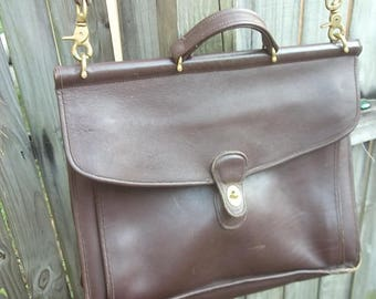 Coach Rustic Brown Leather Briefcase/Bookbag
