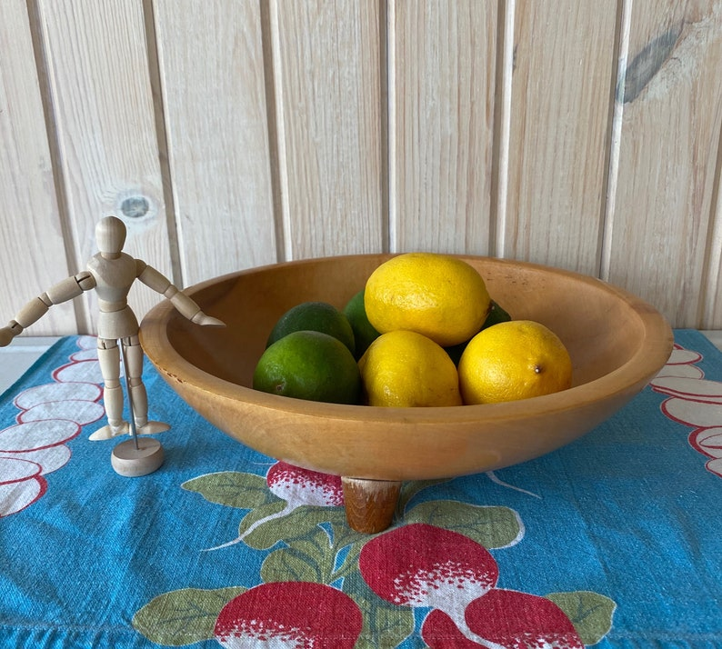 1940s Munising Footed Wood Bowl Footed Wood Fruit Bowl Farmhouse Kitchen Large 11 Maple Salad Bowl Rustic Wooden Bowl Dough Bowl