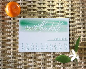 Customizable Save the Date Watercolor Calendar Wedding Invitation Postcard