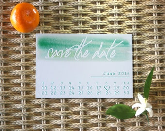 Customizable Save the Date Watercolor Calendar Wedding Invitation Postcard digital download