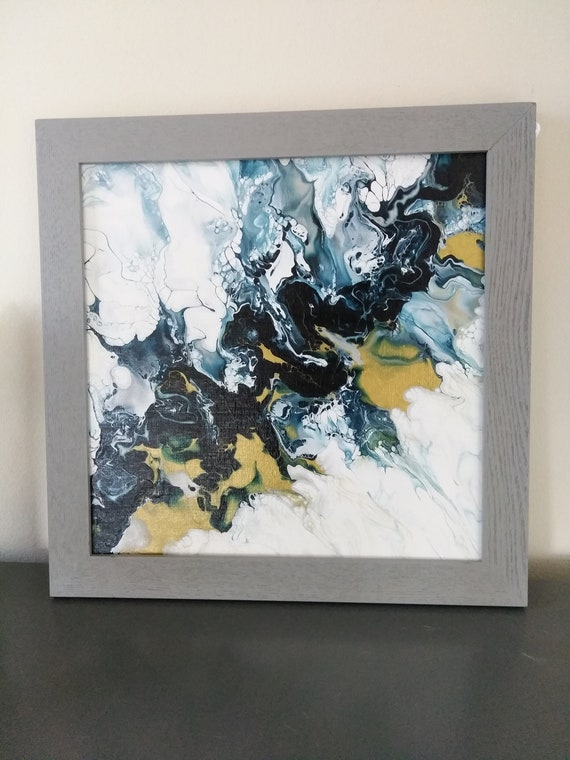 Blue Grey Abstract Art With Gold Frame
