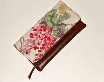 Rits etui, Clutch, handgemaakte tas, cadeau voor haar, make-up tas, vouw over portemonnee