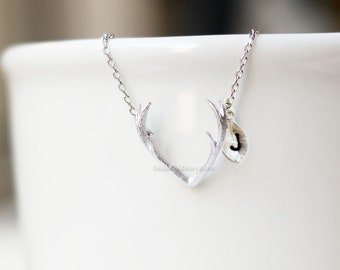 Antler Necklace, silver Antler Necklace, Delicate Antler Necklace, Deer Necklace, Horn Necklace, Rustic Necklace, gift ideas, birthday gift