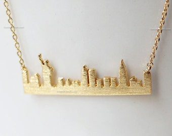 New York skyline necklace in Gold, NewYork bar necklace, city bar necklace, USA jewelry, souvenir New York, city skyline necklace