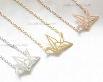 Silver origami Crane Necklace, Crane necklace in Silver, necklace for women, Gift for her / girlfriend gift / bridesmaids gift