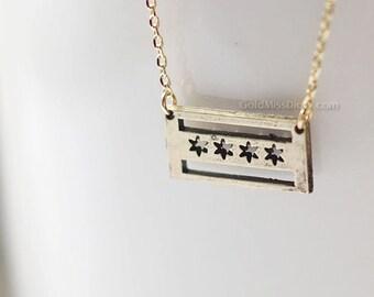 antique Gold Chicago flag necklace, Chicago necklace, dainty chicago flag necklace
