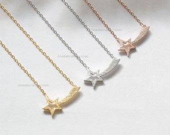 Silver Star Necklace Gift for Her Sterling Silver Necklace Birthday Gift Graduation Gift Shooting Star Necklace Star Necklace