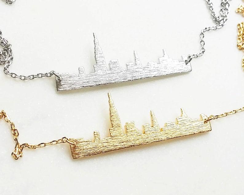 Gold New York skyline necklace USA jewelry city bar necklace skyline necklace souvenir New York NewYork bar necklace