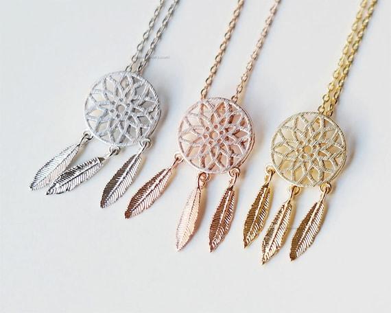 Rose Gold Dreamcatcher Necklace Dreamcatcher Jewelry Feather Etsy Beauteous Dream Catcher Necklace Philippines