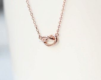 rose Gold Love Knot necklace Tie the Knot necklac/ dainty necklace, everyday, simple, birthday, wedding, bridesmaid jewelry, gift ideas