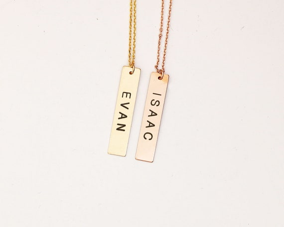 a4d099d7ff1a3 Gold vertical Bar Personalized name Necklace / Customized Initial Pendant  Necklace / Long Necklace Gold /Initial Bar Necklace