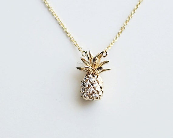 gold pineapple pendant. Pineapple necklace fruit necklace