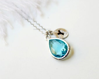 Personalized Aqua Stone Necklace silver flame, Aqua Necklace, Initial Necklace, Bridesmaid Gifts, Maid of Honor Gift, wedding, gift ideas