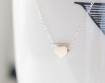 tiny Gold Heart Necklace, 14k gold filled or sterling silver, dainty heart necklace, wedding, bridesmaid, birthday gifts