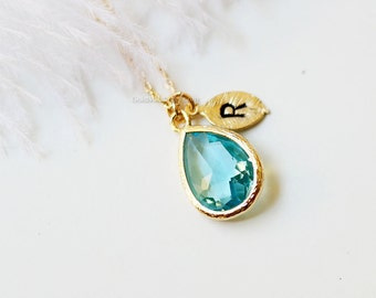 Personalized Aqua Stone Necklace, Aqua Necklace, Initial Necklace, Bridesmaid Gifts, Maid of Honor Gift, wedding gift, gift ideas