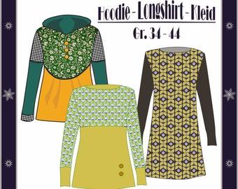 E-book size 34-44, hoodie, hoodie, long sleeve shirt, tunic, dress, sewing guide, sewing pattern, DIY