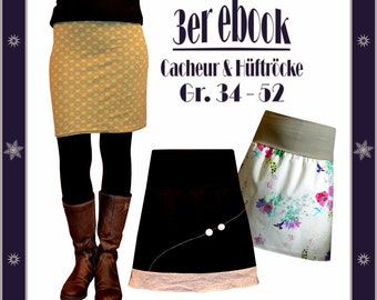 ebook skirt with elastic waistband sewing, sewing guide, cacheur for turning, DIY