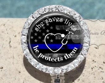 Bling She Saves Lives Thin Blue Line Badge Reel,Nurse,Police,Wife,Badge Holder,Badge Reel,Blue Lives Matter,Retractable Badge Holder,MB457