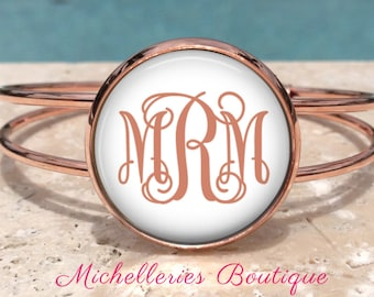 Rose Gold Monogram Cuff Bangle,Monogram Bracelet,Monogram Jewelry,Monogram Accessories,Personalized Gift,Bridesmaid Gift,Gifts for Her,MB331