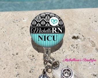 Monogram Badge Reel, Retractable Badge Holder, Personalized Badge Reels,Doctor Badge Reels,Nurse Badges,RN BSN,LPN,Midwife,Aqua Damask,MB473
