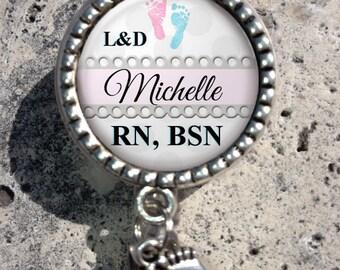 Personalized Retractable Badge Holder, Nurse Badge Reel, Lpn, Np, Nicu, Labor Delivery, MB304