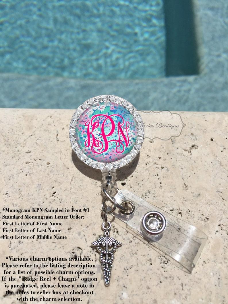 Blue Floral Badge Reel Nursing Badge Reel Rhinestone Personalized Badge Reel MB362 Monogram Badge Reel