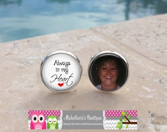 Always in my Heart Cufflinks, Custom photo Cuff Links, Photo Memorial Cufflinks, In memory of Cufflinks, MB120